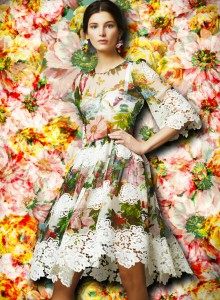 dolce-and-gabbana-fw-2014-womenswear-collection-flower-and-fruit-print-dress-printed-chiffon-with-lace-application