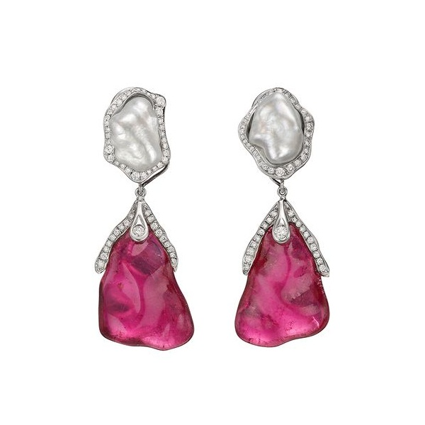 Dorota rubellite & keshi pearl drop earrings