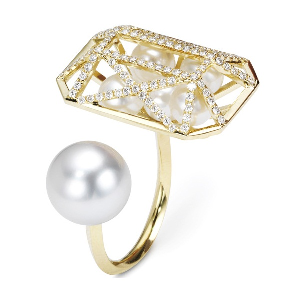 Melanie Georgacopoulos Caged Ring with diamonds and pearls