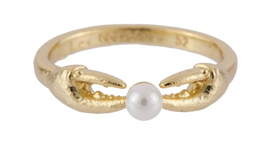 Les Nereides ATLANTIDE CRAB'S PINCERS AND PEARL RING, $92